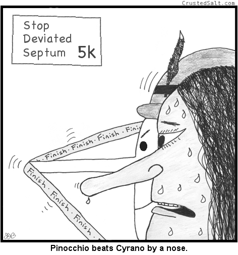Pinocchio and Cyrano race in the Stop Deviated Septum 5k