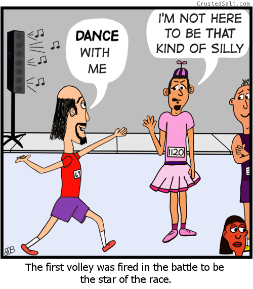 a comic strip with a man in dress being asked to dance by a man at a marathon