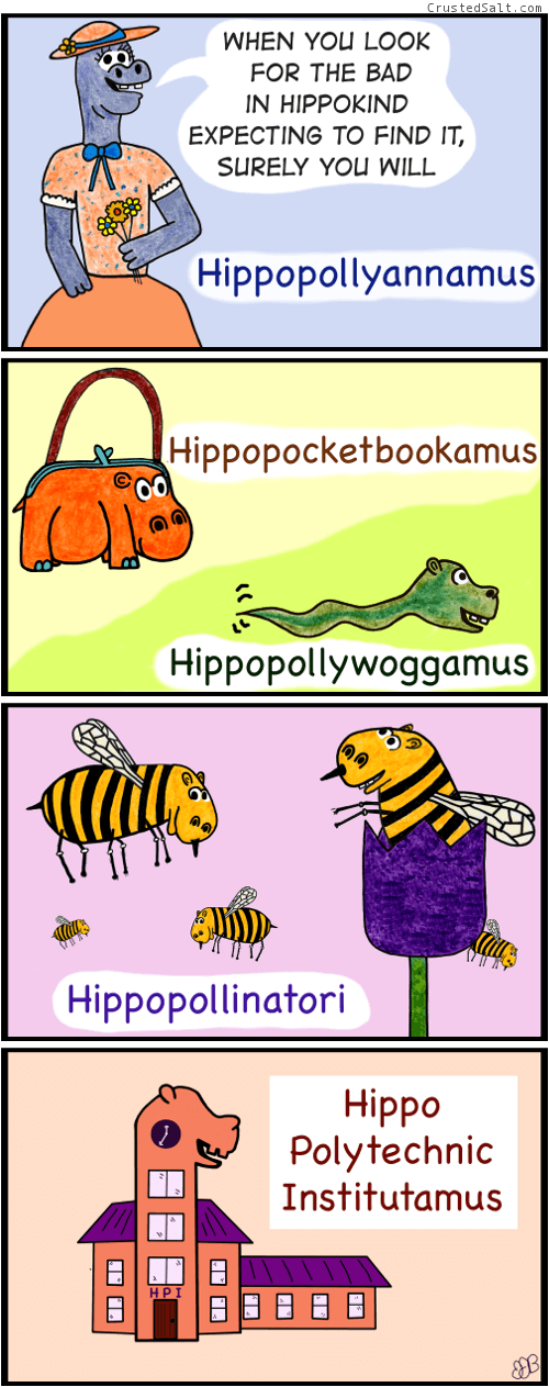 a comic strip about hippos fused with other things