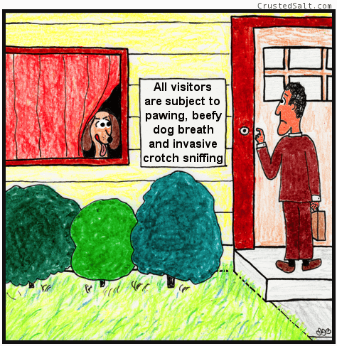 a comic with a man ringing a doorbell, a dog in the window, and a sign warning about the dog