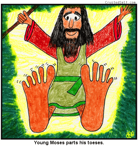 a comic with a young biblical Moses holding a staff and parting his toes