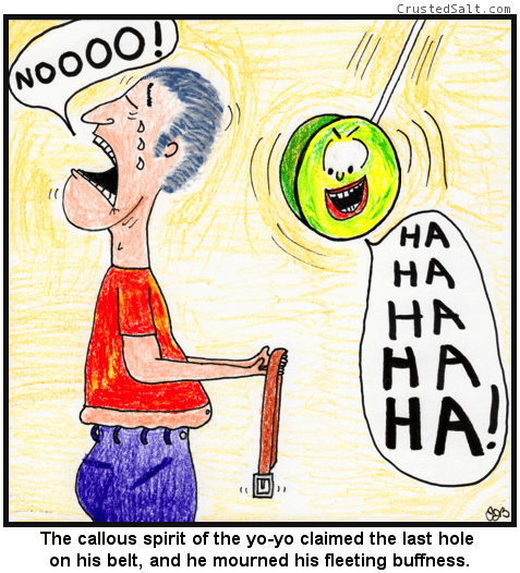 a comic with a man crying and holding a belt, a yo-yo laughs at him