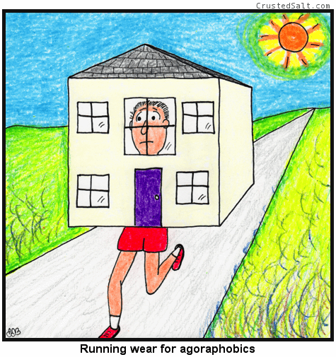 a comic with a man running down the road wearing a house