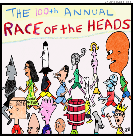 comic strip with runners with all different kinds of heads running a race