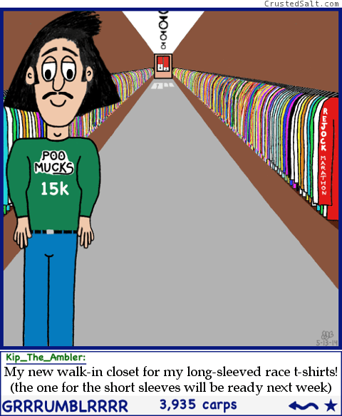 runner's walk-in closet for marathon finisher t-shirts in Tumblr parody