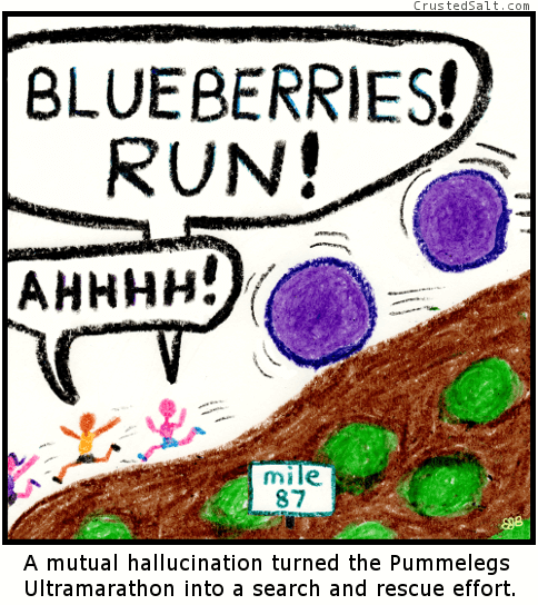 giant blueberries chase hallucinating ultramarathon runners down a hill