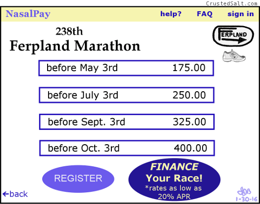 a parody of a modern marathon registration page charging exorbitantly high prices