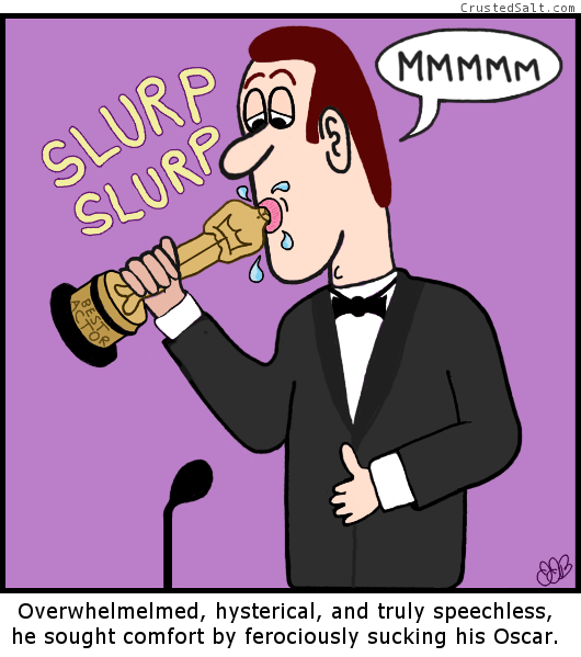a comic strip with a nervous man on stage sucking an Oscar statue in front of a microphone