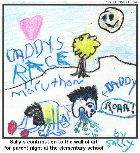 a young girls drawing of her daddy throwing up in a marathon