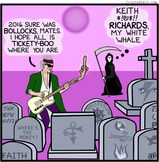 a comic strip with a parody of Keith Richards playing a guitar in a cemetery while the angel of death looks on
