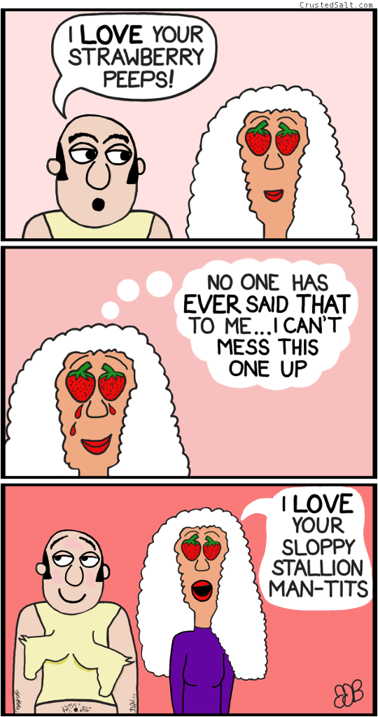a three panel comic with a man with man boobs exchanging compliments with a strawberry-eyed woman, horses and stallions are involved