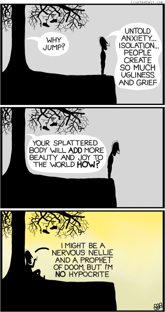 a comic strip with a man on a cliff by a tree contemplating suicide, in silhouette