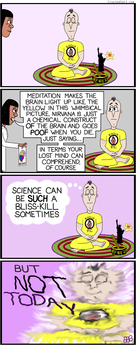 a comic strip with a meditating man sitting on a rug with a meditation bowl and a Statue of Liberty flower vase and a flower, and a scientist in a white lab coat