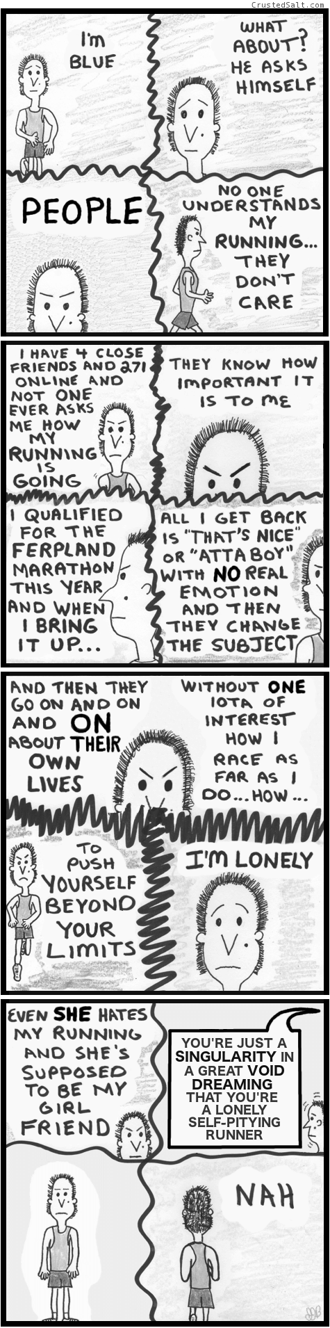 a comic with a man running and lamenting his existence