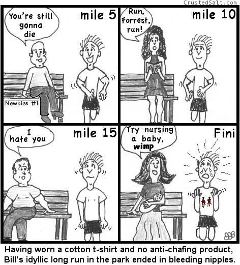 a man running in park gets bleeding nipples