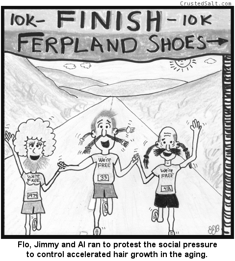 a comic with three runners with long nasal, ear, and facial hair crossing a 5k finish line wearing 'we're free' t-shirts
