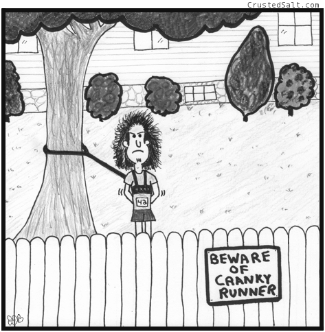 a comic with a man tied to a tree with a sign on the fence that reads beware of cranky runner