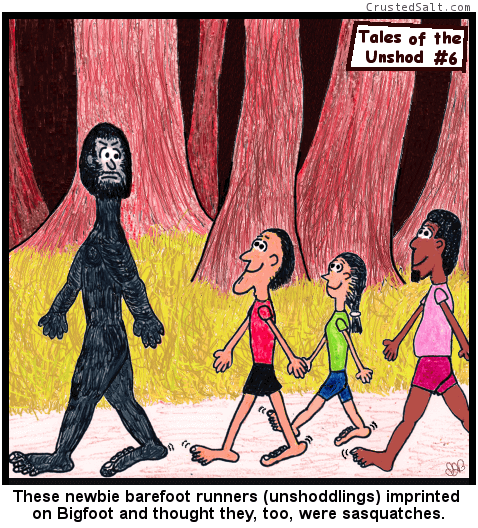 a comic with three barefoot runners following Bigfoot