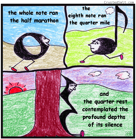 a comic with musical notes and rests running and meditating