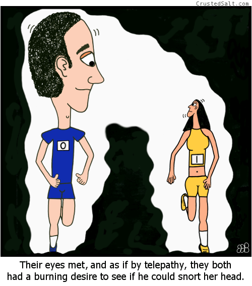 a runner with a huge head and one with a tiny head look at each other