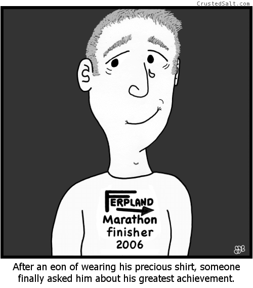 a runner wearing a marathon finisher t-shirt cries tears of joy after someone asks him about it