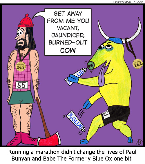 a parody comic strip with Paul Bunyan and Babe The Blue Ox after running a marathon