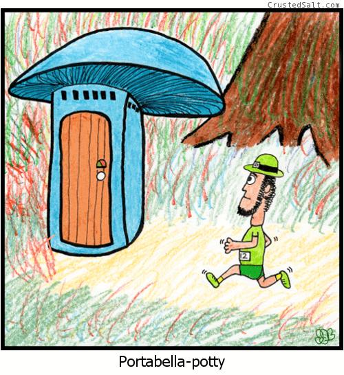 a cartoon with a leprechaun runner jogging to a port-a-potty shaped like a portabella mushroom