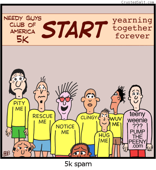 a comic strip with needy male runners at a 5k race being spammed by a man in an ad-filled t-shirt